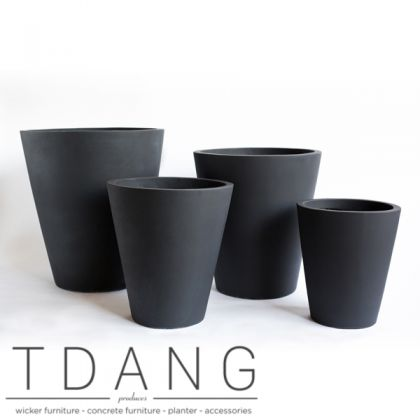 Light Cement Tall Round Pots (TD9105)