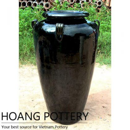 Giant Black Ceramic Flower Jars (HPTV037)