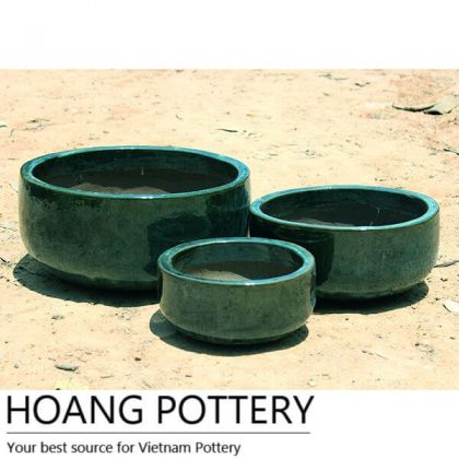 Outdoor Low Ceramic Glazed Pots (HPAN071)