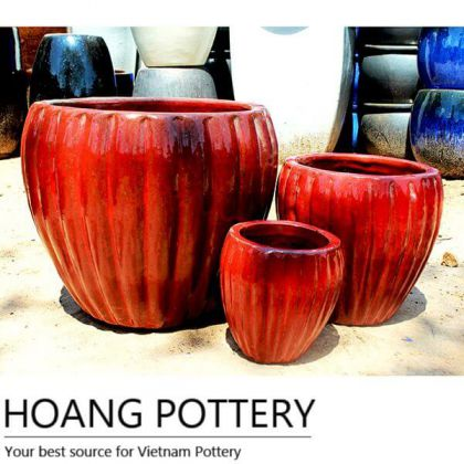 Round Red Ceramic Pots (HPAN042)