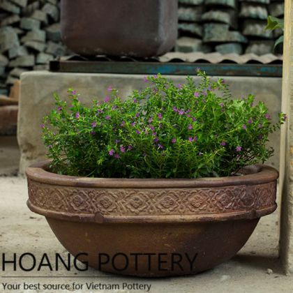 Antique Black Clay Flower Rim Bowl Pot (HPHP044)