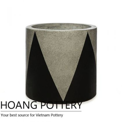 Cylinder Cement Painting Pots - Crown Pattern (HPPC004)