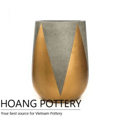 Tall Pear Cement painting Pots - Crown Pattern