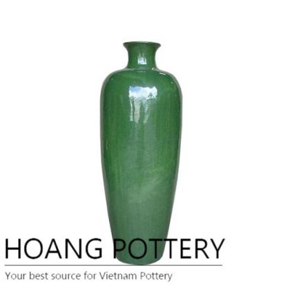 Glass green tall vase ceramic