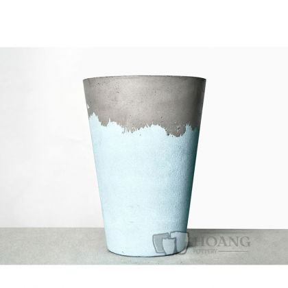 Blue and grey cement pots