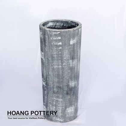 Grey-Wax Cylinder Cement Pot